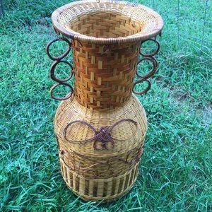 Vintage Boho Wicker Rattan Woven Vase Basket Decor